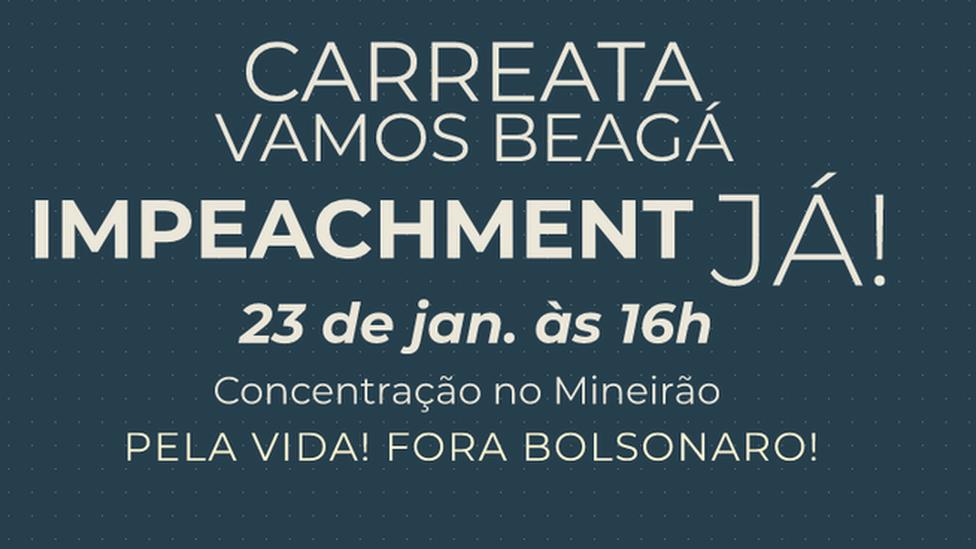 Banner de convocação para carreata de pedido de impeachment para Bolsonaro