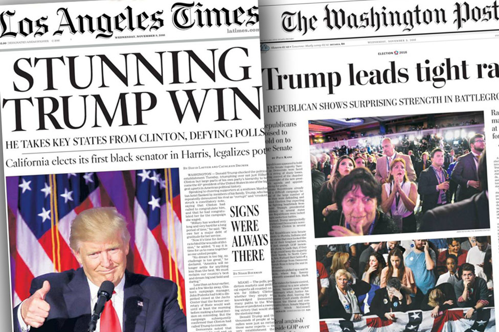 Front pages of Los Angeles Times and The Washington Post