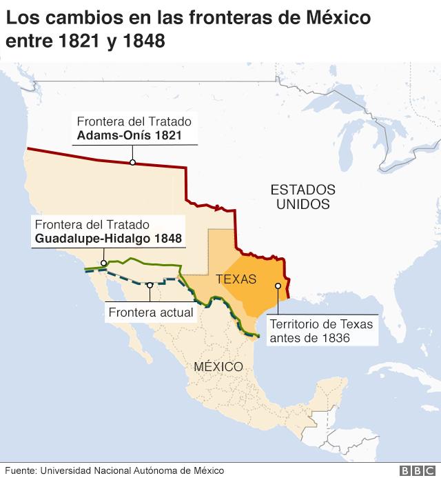 Mapa sobre las distintas fronteras entre México y Estados Unidos.