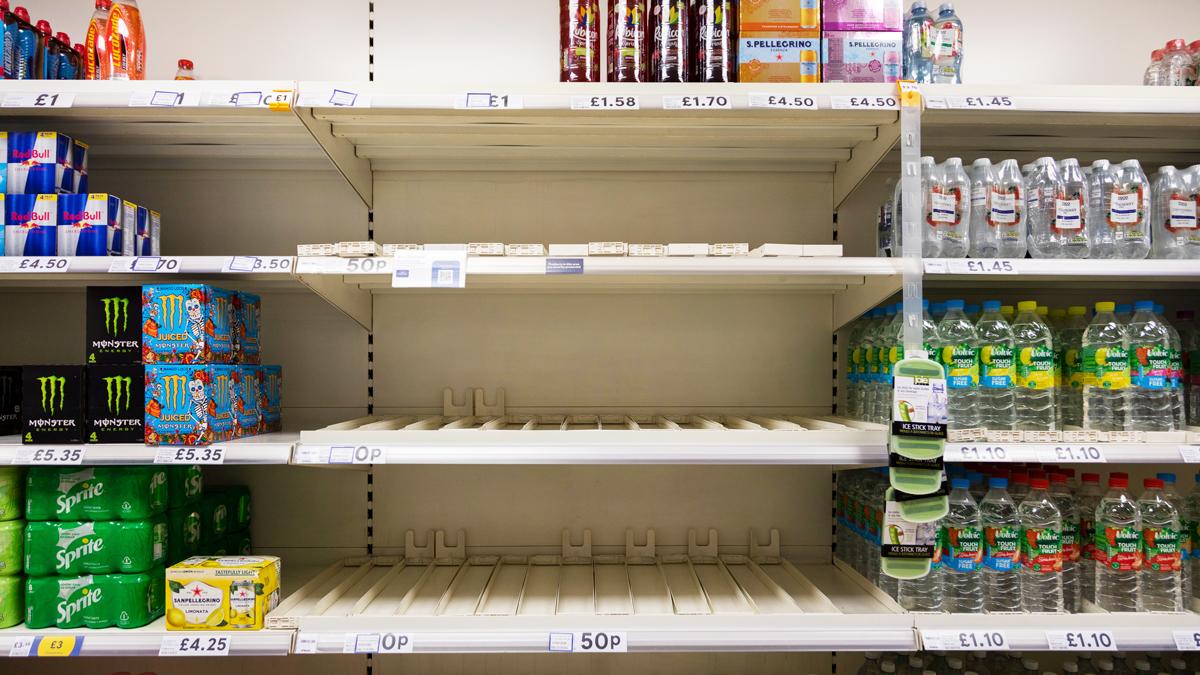 英國超市的空貨架