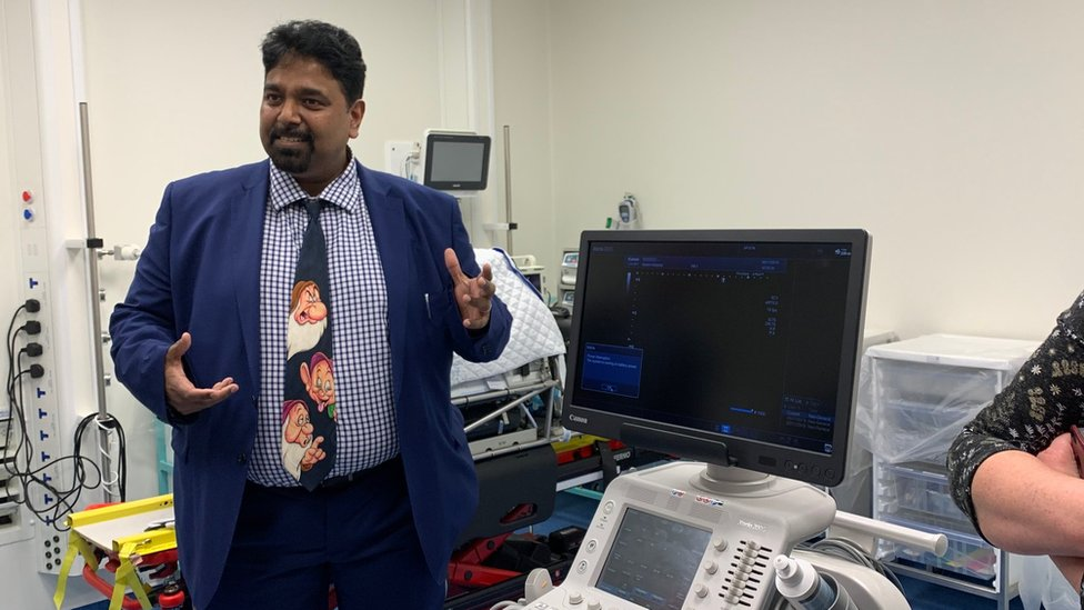 Dr Prakash Thiagarajan shows off the new ultrasound machine