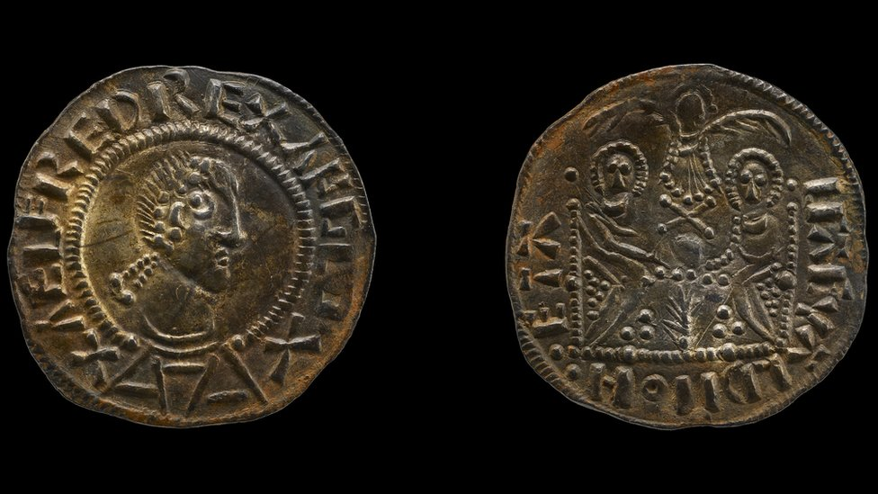 Coin reading 'Aelfred Rex Anglo'