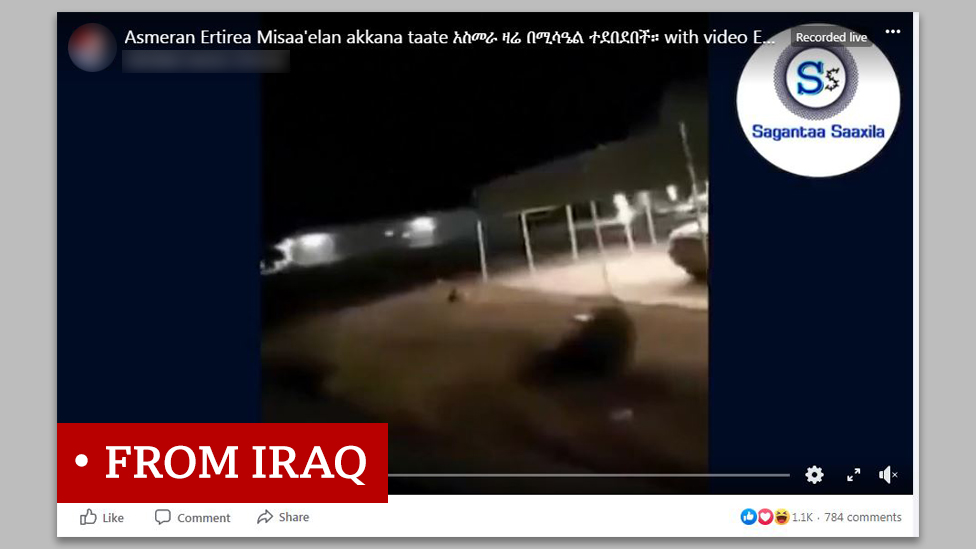 "Screen grab of video labelled ""from Iraq"""