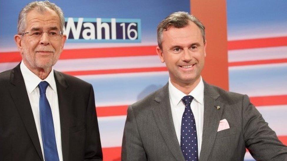 Alexander Van der Bellen (l) and Norbert Hofer (r)