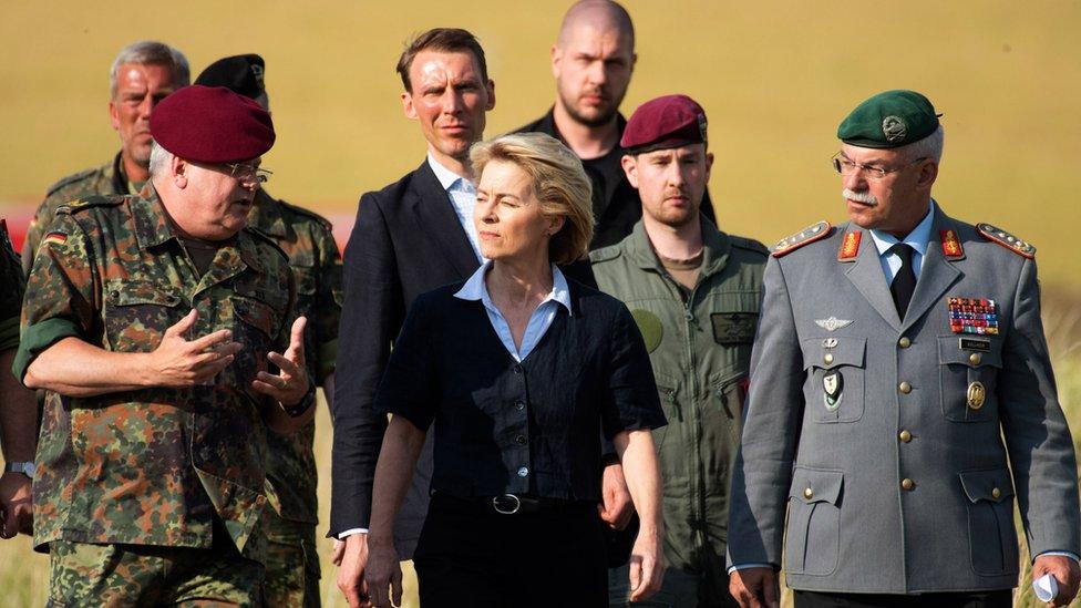 German Defence Minister Ursula von der Leyen arrives on July 1, 2019 at the site of a fatal army helicopter crash