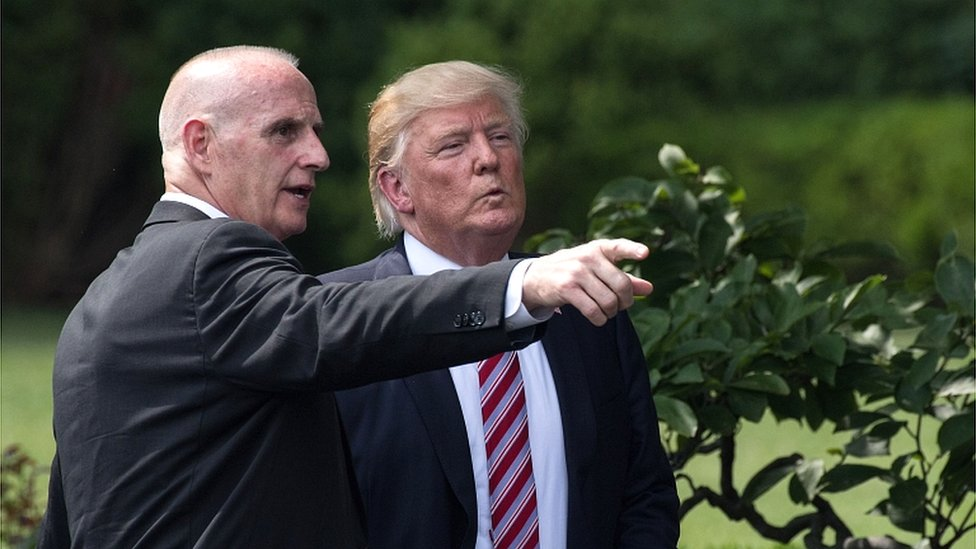 Director of Oval Office Operations Keith Schiller (left) and President Donald Trump at the White House