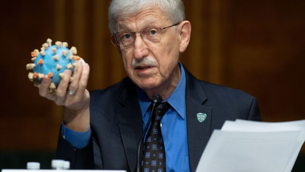 دكتور فرانسيس كولينز مدير معهد الصحة الوطني الأمريكي يحمل نموذجا للفيروس خلال جلسة استماع في مجلس الشيوخ