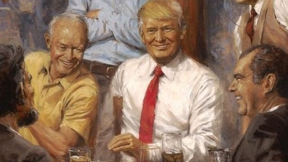 Painting of Trump among past presidents seen at White House