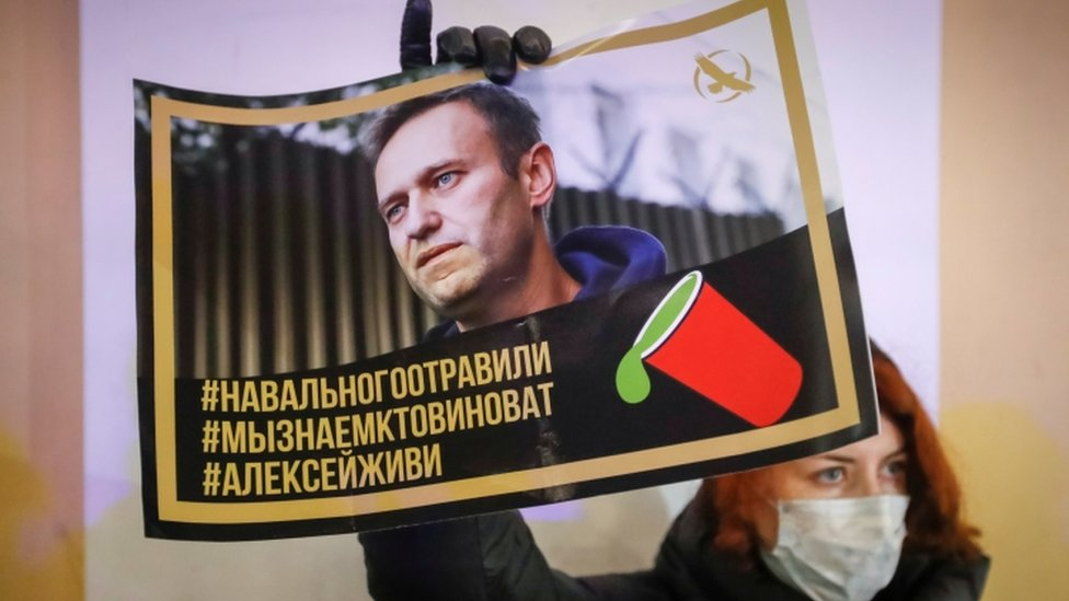 "Protester holds poster with hashtags ""Navalny was poisoned"", ""We know who's to blame"" and ""Alexei, stay alive"""