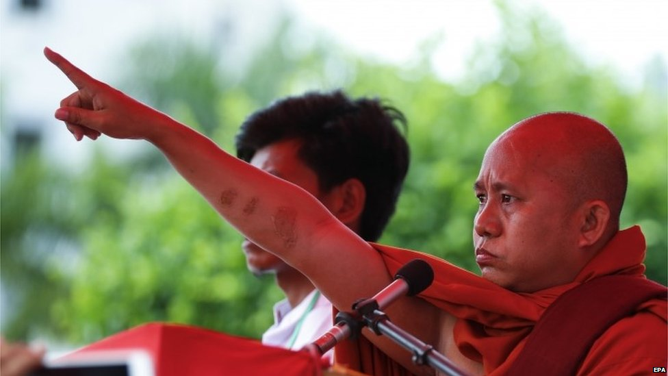 Nationalist Buddhist monk Wirathu during a rally, 30 August