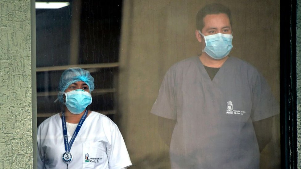 Hospital workers in Ecuador