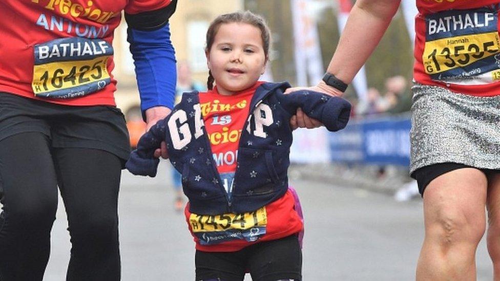 Harmonie-Rose Allen: Limbless girl finishes Bath half-marathon