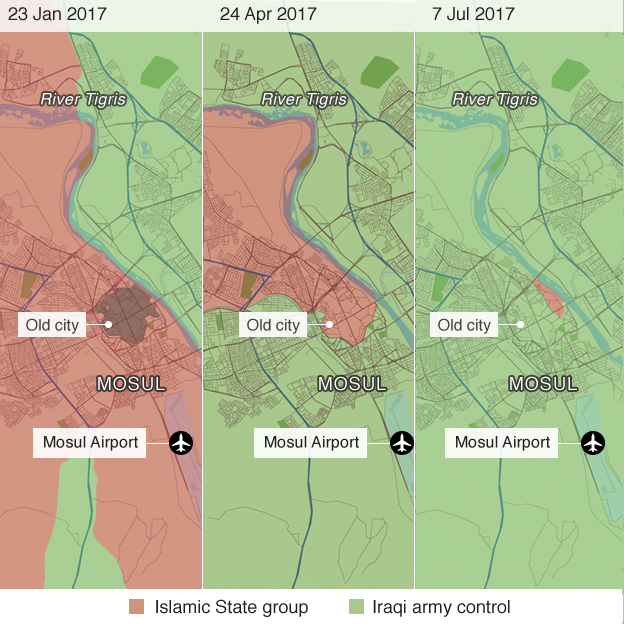 Map showing IS territory loss in Mosul