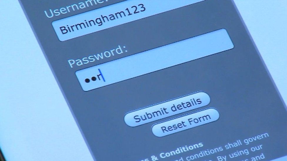A volunteer enters a username and password to see how long it takes to hack