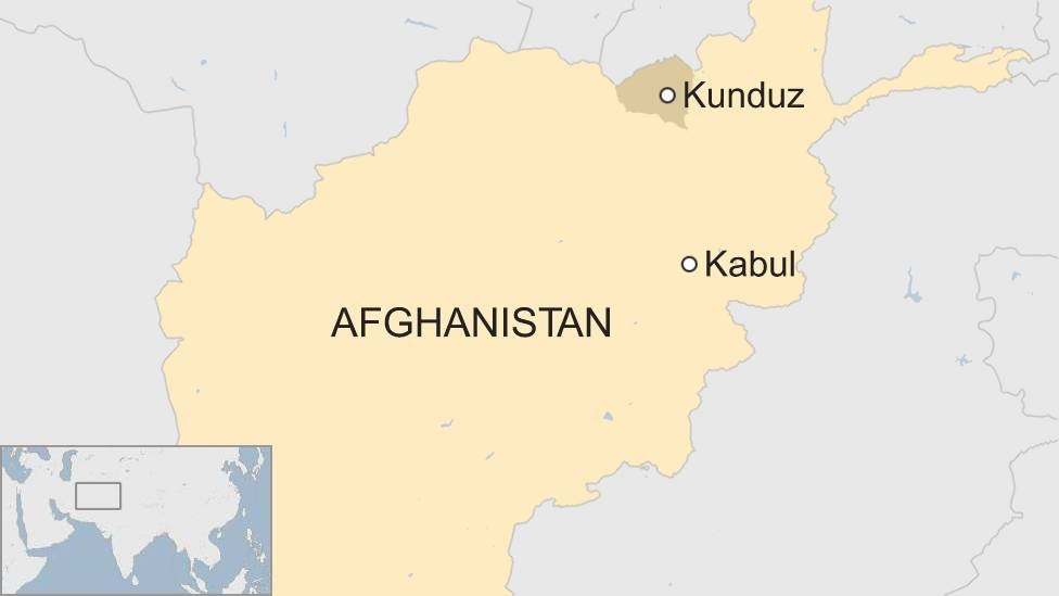 Map of Afghanistan with Kunduz in the north marked