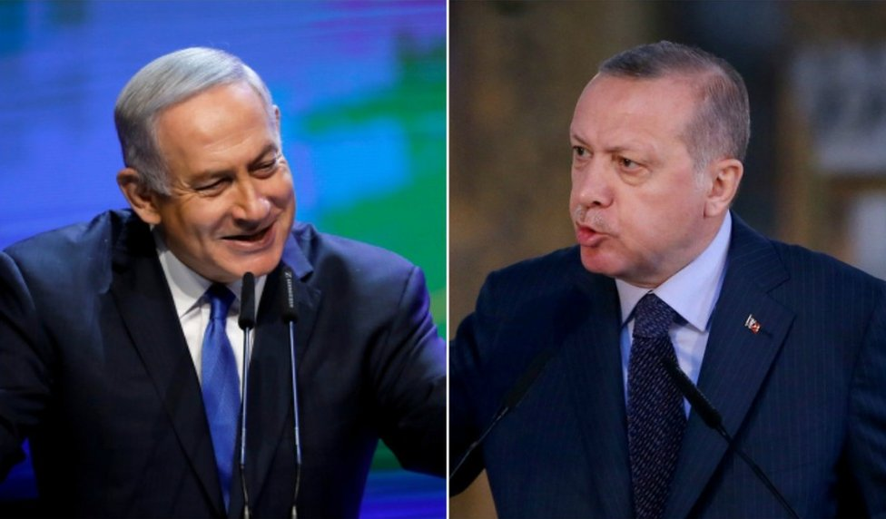 Collage photograph of Netanyahu and Erogan from latest public appearances