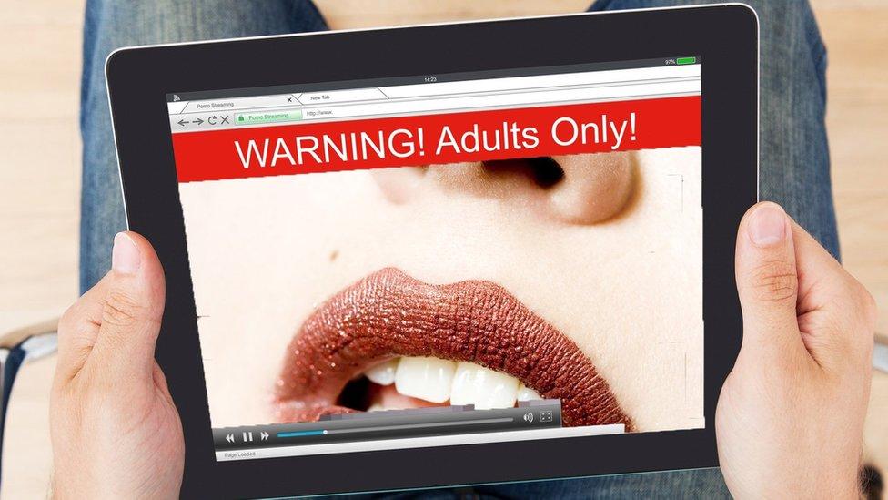 فيلم إباحي على شاشاة الكمبيوتر