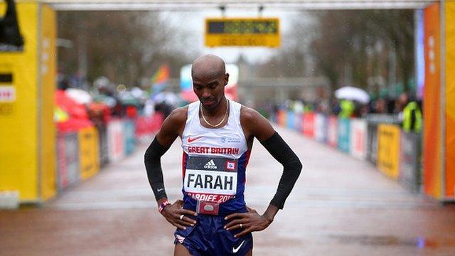 Mo Farah at the finish line