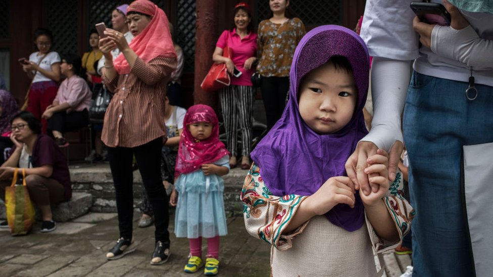 Chinese Hui Muslims gather before Eid al-Fitr prayers