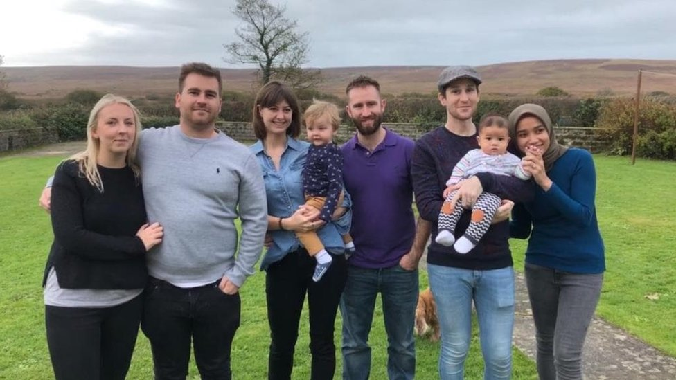 Dan and his family on a trip back to the UK