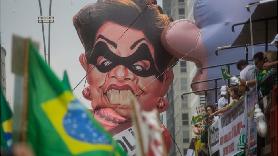 Protestors demonstrate demanding the removal of President Dilma Rousseff on 13 March, 2016 in Sao Paulo, Brazil.