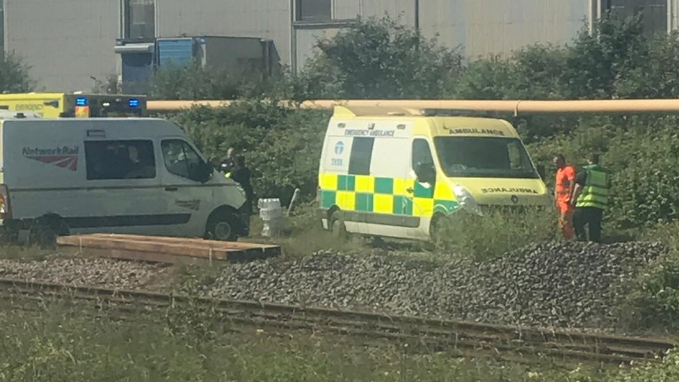 Emergency vehicles on the scene of the accident near Port Talbot on Wednesday