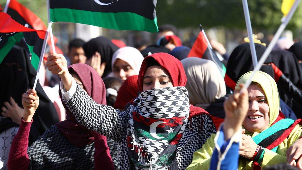 Libyan women during a demonstration