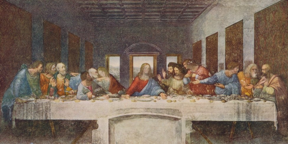 The mural painting The Last Supper by Leonardo Da Vinci