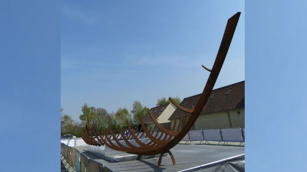 Steel sculpture of Anglo-Saxon ship