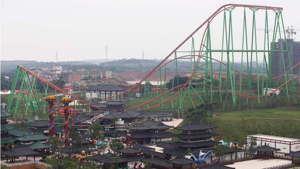 """A general view of the outdoor theme park of the newly-opened Wanda Cultural Tourism City or """"Wanda City"""" in the eastern city of Nanchang in Jiangxi Province, China, 28 May 2016."""