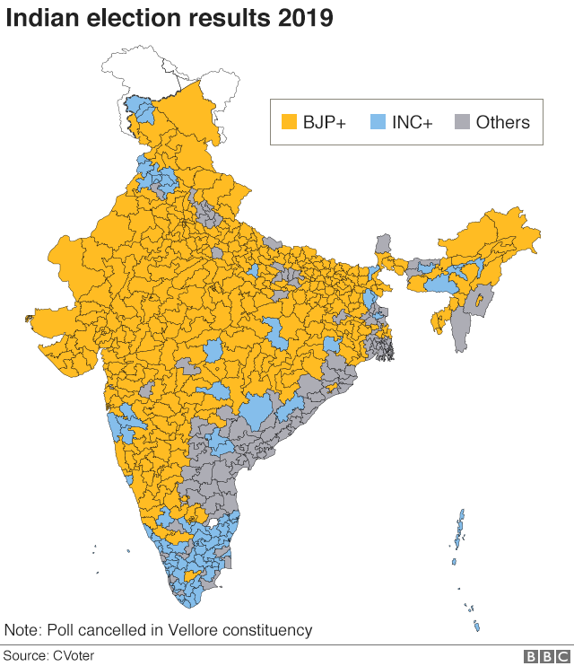 2019 India results map