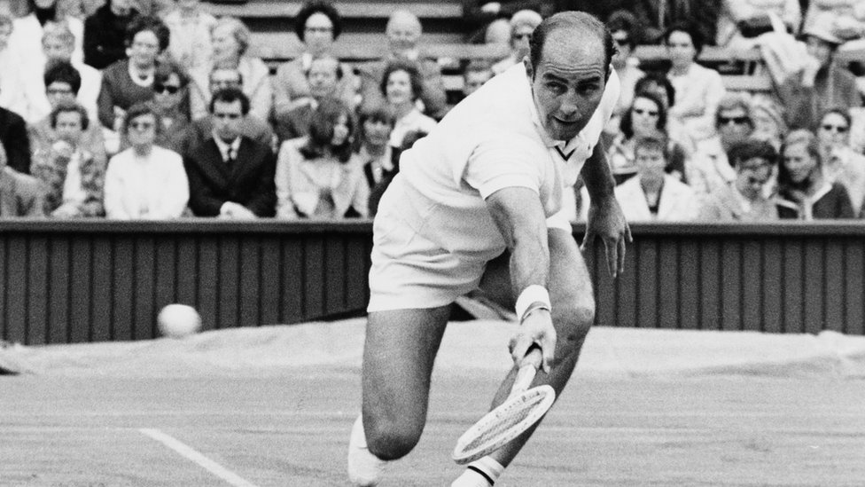 Bob Hewitt competing in the first round of the Men's Singles at Wimbledon in 1969