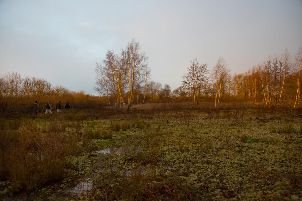 Four men cross a field near Ripley in Surrey