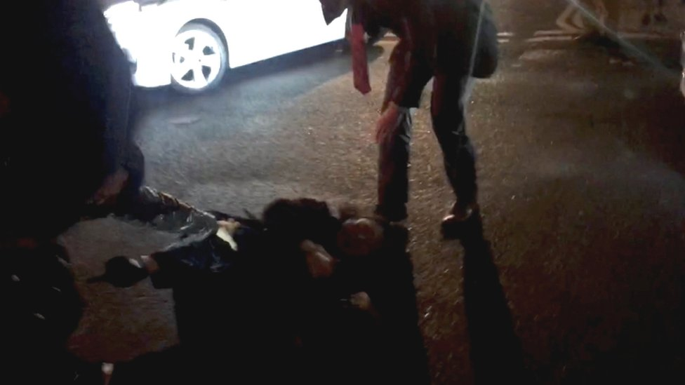 Teresa Cheng falls to the ground during the incident