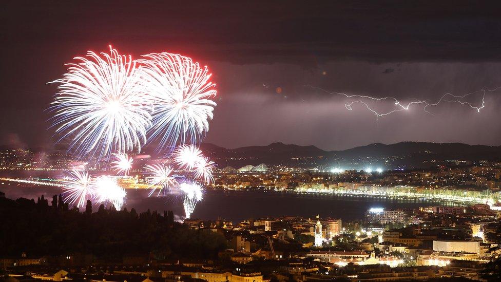 Fireworks over Nice on 14 July 2016