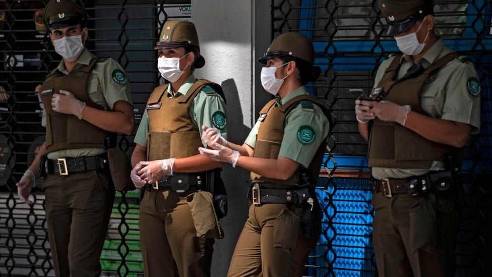Miembros de seguridad en Chile.