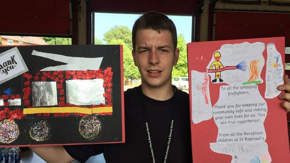 Volunteer Callum Boulton with thank you cards