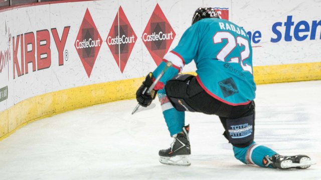 Belfast Giant Mike Radja celebrates scoring against Nottingham Panthers