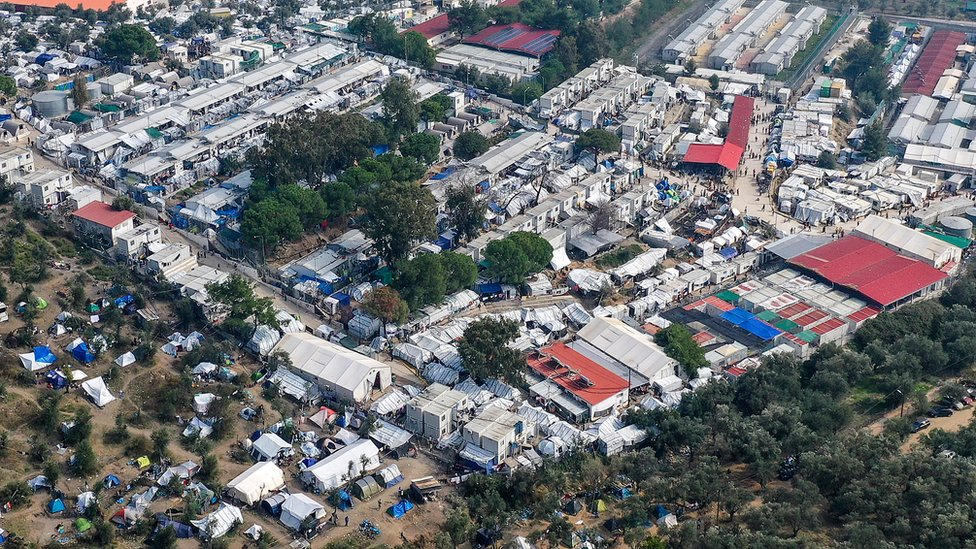 An aerial view of the overcrowded Moria Refugee Camp on October 18, 2019