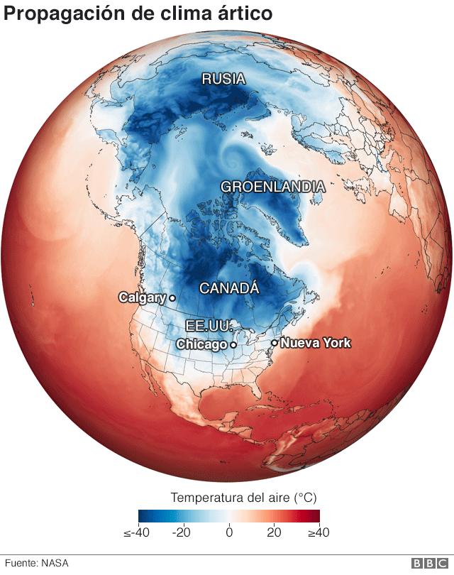 Mapa de la propagación de clima ártico.