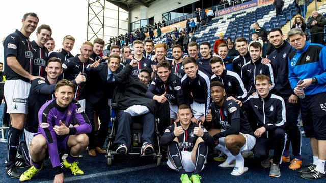 Falkirk celebrate after finishing runners up in the Championship
