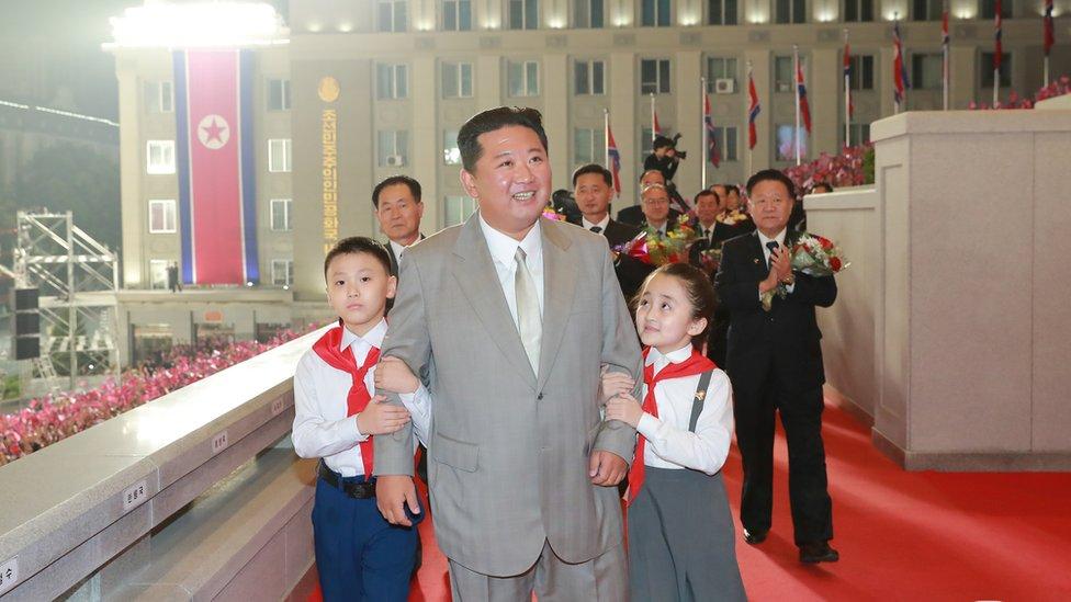 Kim Jong Un attends a paramilitary parade held to mark the founding anniversary of the republic at Kim Il Sung square in Pyongyang