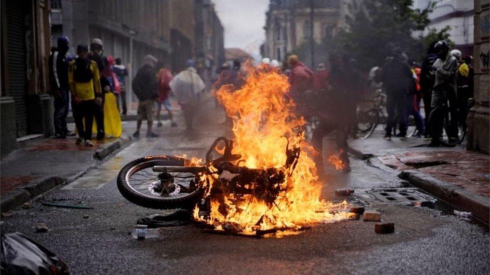 Disturbios en Bogotá.