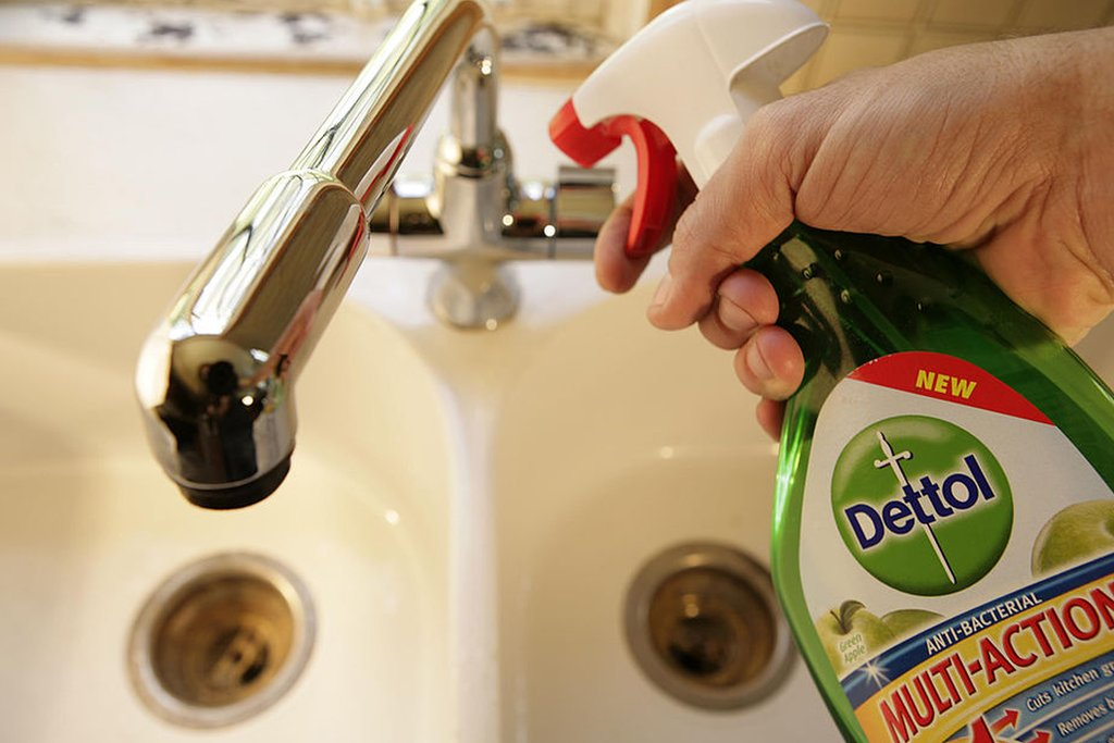 Dettol disinfectant sprayed into sink
