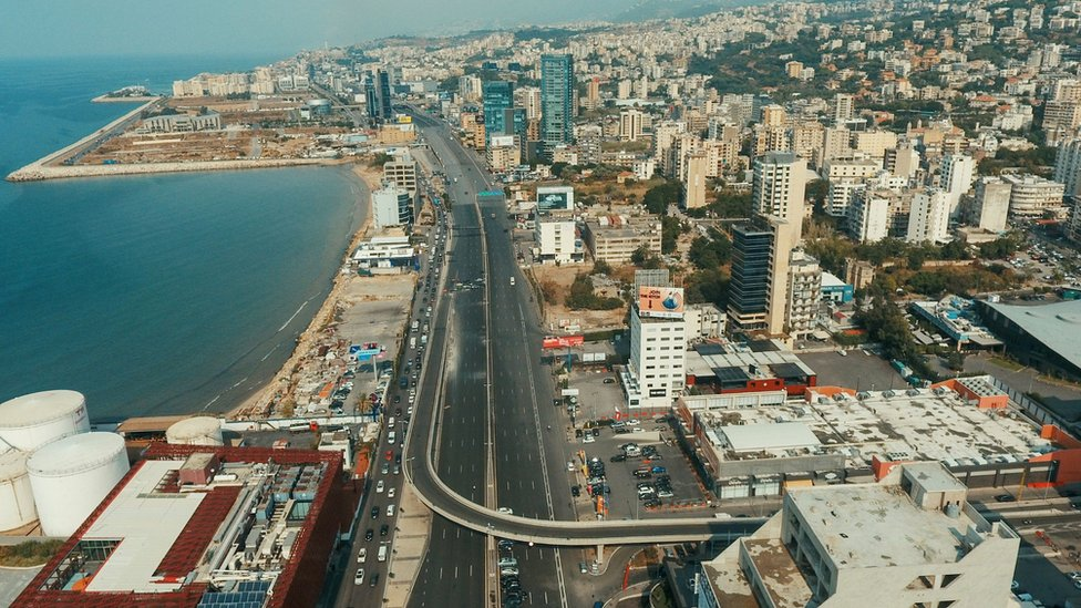 Aerial view of part of Beirut