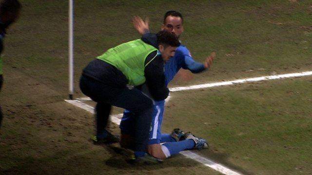 Kaid Mohamed celebrates for Eastleigh