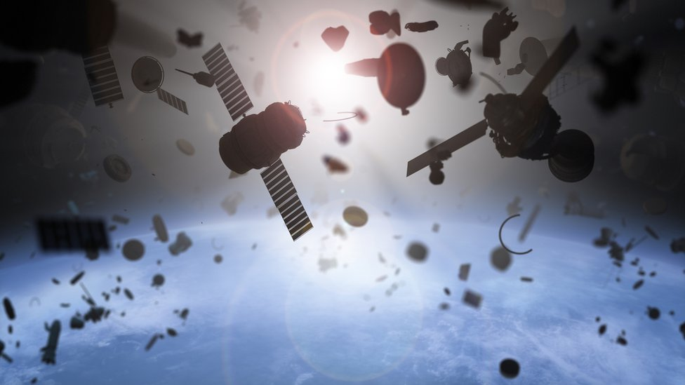Artwork image of space debris