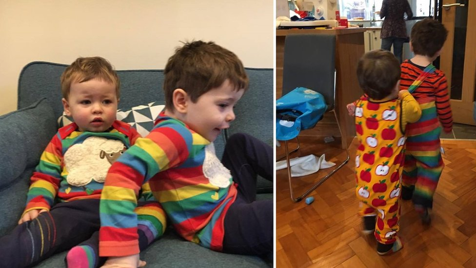 Claire Todd's sons in rainbow clothing