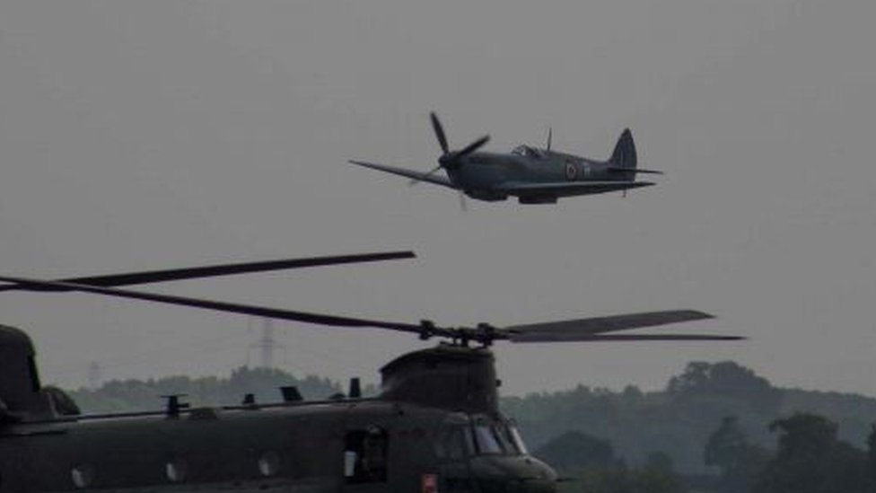 Spitfire and Chinook in near miss at RAF Cosford