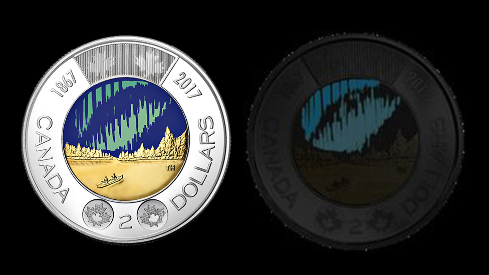 Canada 150 two-dollar coin glows in the dark